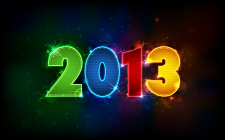 illustration of shiny 2013 in happy new year background Vector