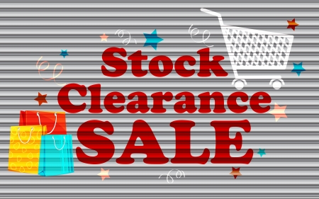 illustration of stock clearance sale painted on shutter Stock Vector - 15196069