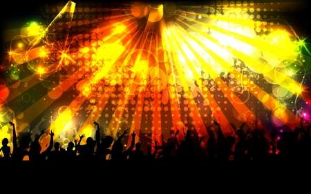 discotheque: illustration of cheering crowd on sparkling musical background