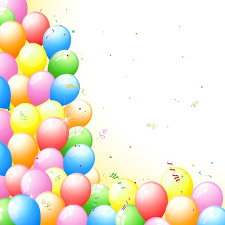 event party: illustration of bunch of colorful balloon with star and confetti