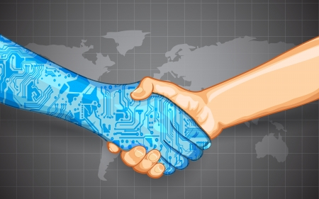 engineering design: illustration of hand shake between technology and human Illustration