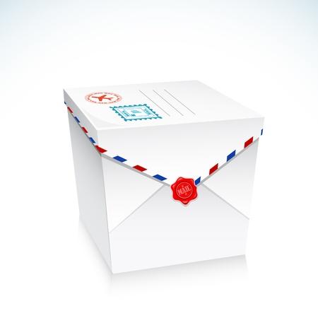 illustration of postal envelope in shape of gift box Stock Vector - 14971996