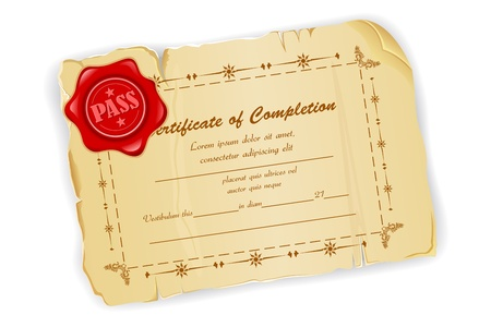 illustration of vintage certificate with wax seal illustration