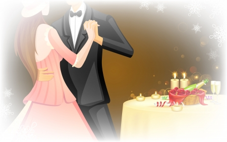 illustration of romantic couple doing ball dance in candle light date Vector