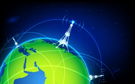 illustration of connectivity around world through wifi tower Vector