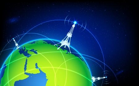 satellite transmitter: illustration of connectivity around world through wifi tower