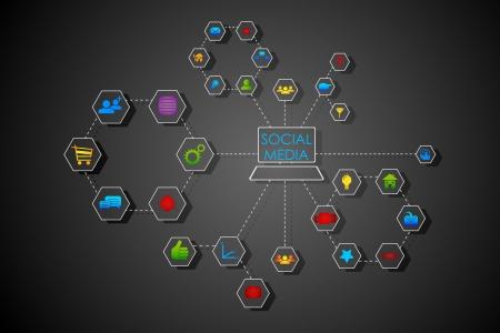 illustrazione della tecnologia connessa con web di social networking