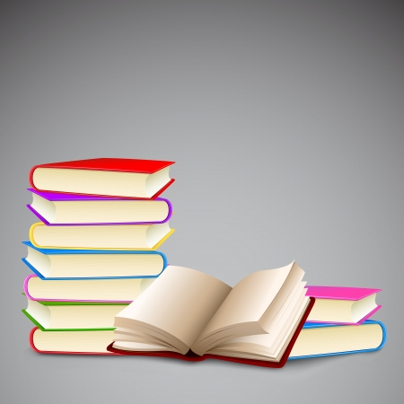 hard cover: illustration of stack of colorful books with hard cover Illustration