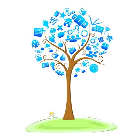 illustration of technology symbol in tree Vector