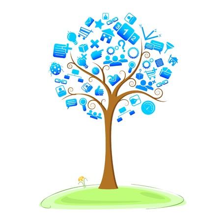 illustration of technology symbol in tree Vector