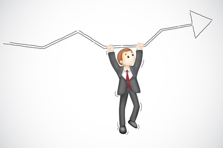 illustration of business man hanging from arrow Stock Vector - 14972004
