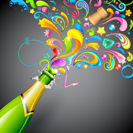 illustration of colorful swirls coming out of champagne bottle Vector