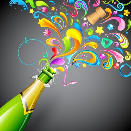 botella champagne: ilustración de remolinos de colores que sale de la botella de champán
