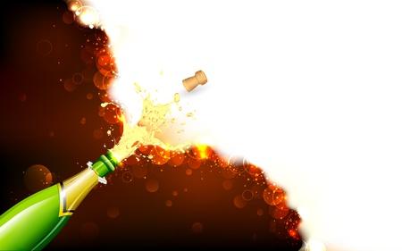 champagne celebration: illustration of explosion of champagne bottle cork on abstract background Illustration