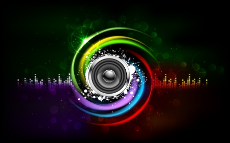illustration of loud speakers on abstract musical background Stock Illustration - 15056290