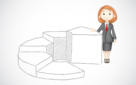 woman stairs: illustration of business lady standing with bar graph drawing Illustration