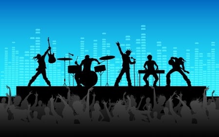 concierto de rock: ilustración de personas vitoreando desempeño banda de rock