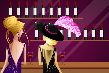 nightclub bar: illustration of female friend enjoying drink in kitty party