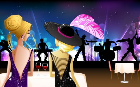 illustration of women enjoying live rock band show Stock Vector - 15056299