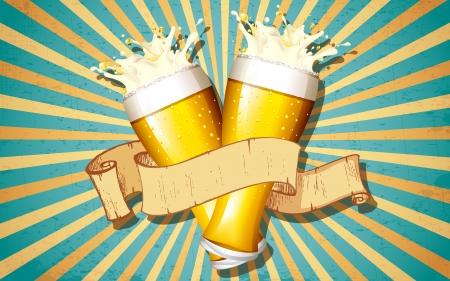 ビクトリア朝の背景にリボンをビールグラスのイラスト