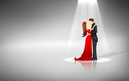 commitments: illustration of romantic couple standing in spot light