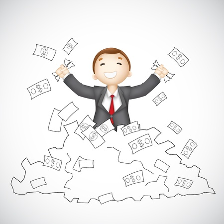 3d manager: illustration of 3d business man in vector showing happy gesture Illustration