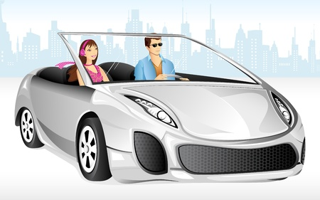 woman driving: illustration of couple enjoying long drive in car Illustration