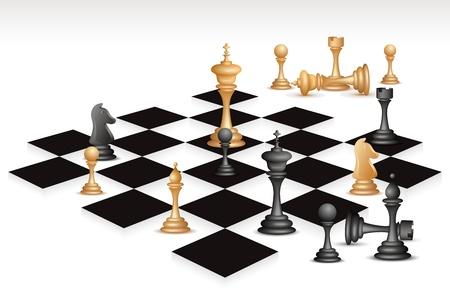 caballo de ajedrez: ilustraci�n de la pieza de ajedrez en el tablero de ajedrez
