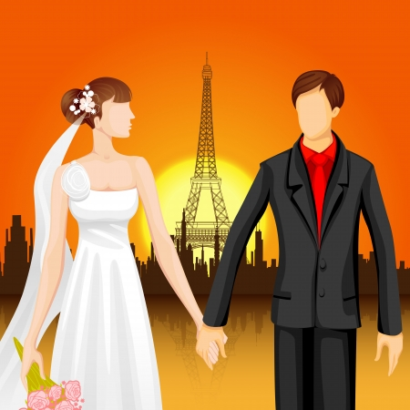 destination wedding: illustration of couple in front of Eiffel Tower