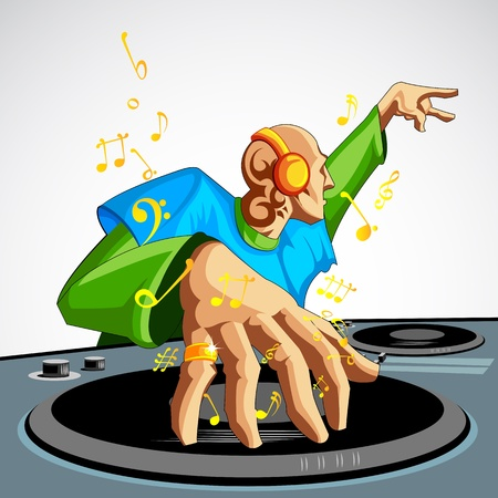 jockeys: illustration of disco jockey playing music in discotheque Illustration