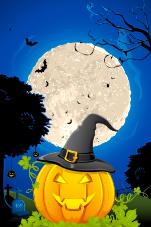 witch hat: illustration of jack-o-latern pumpkin in halloween night