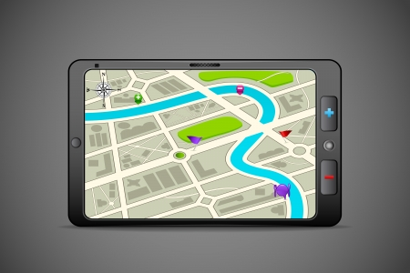 gps device: illustration of GPS instrument showing route map