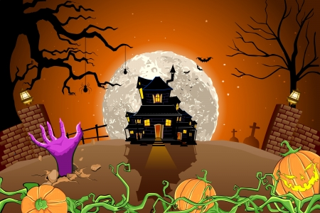 abandoned: illustration of halloween haunted house in scary night