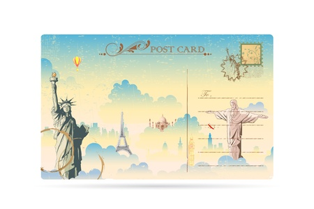 dispatch: illustration of world famous monument on travel postcard