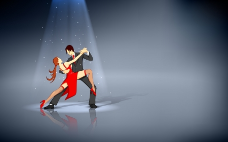 sexy young couple: illustration of dancer performing salsa under spot light Illustration