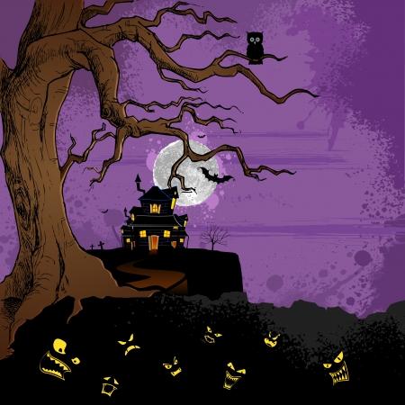 abandoned house: illustration of abandoned haunted house in halloween night