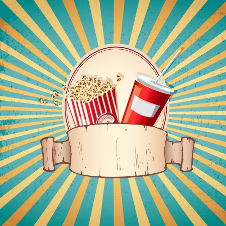 illustration of cold drink and pop corn on sunburst vintage background Vector
