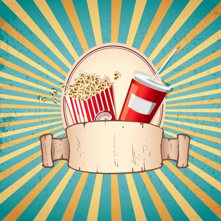 cocacola: illustration of cold drink and pop corn on sunburst vintage background