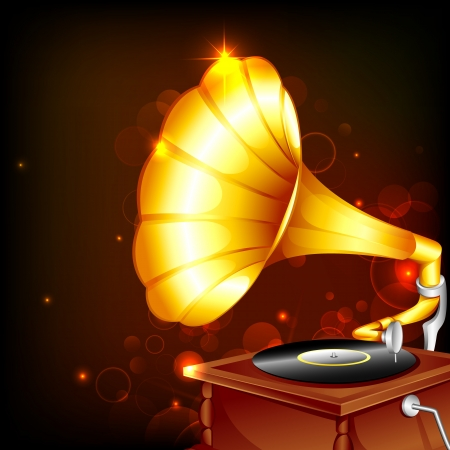 gramophone: illustration of antique gramophone on abstract background