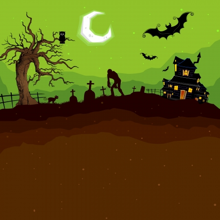 spooky tree: illustration of abandoned haunted house in halloween night