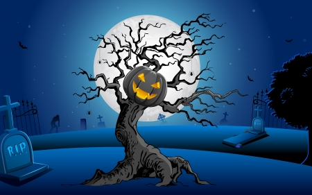 illustration of glowing pumpkin on scary tree in halloween night Vector