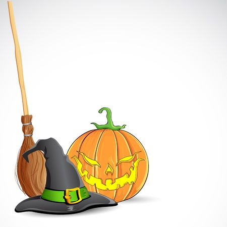 halloween greetings: illustration of witch hat on pumpkin for halloween