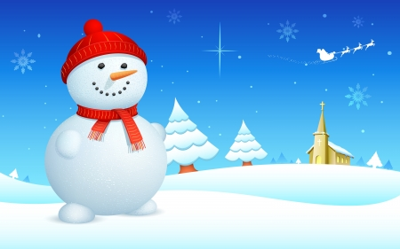 illustration of snowman on snowy landscape in christmas night Vector
