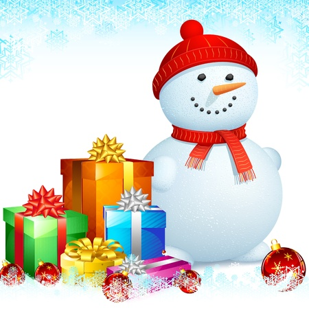 illustration of snowman with gift box for Christmas Stock Vector - 15167305