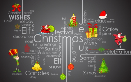 illustration of CHristmas typhography background with element Vector