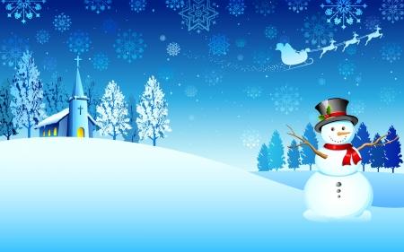illustration de bonhomme de neige dans la nuit de Noël avec le père noël en traîneau volant Illustration