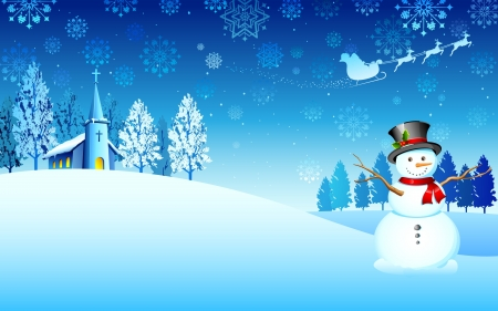 illustration of snowman in christmas night with santa flying in sledge Illustration