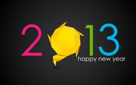 illustration of happy new year with origami speech bubble Stock Vector - 15167286