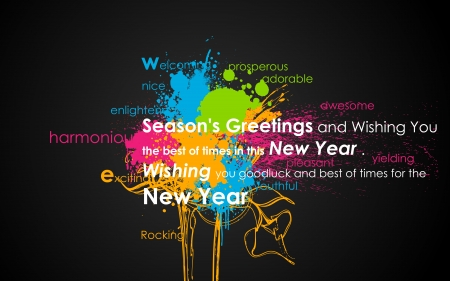 happy new year text: illustration of Happy New Year message on colorful grungy background Illustration