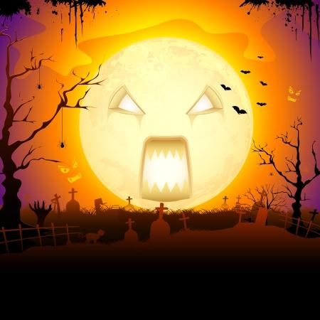 mortalidad: ilustraci�n de la luna en la noche de Halloween de miedo